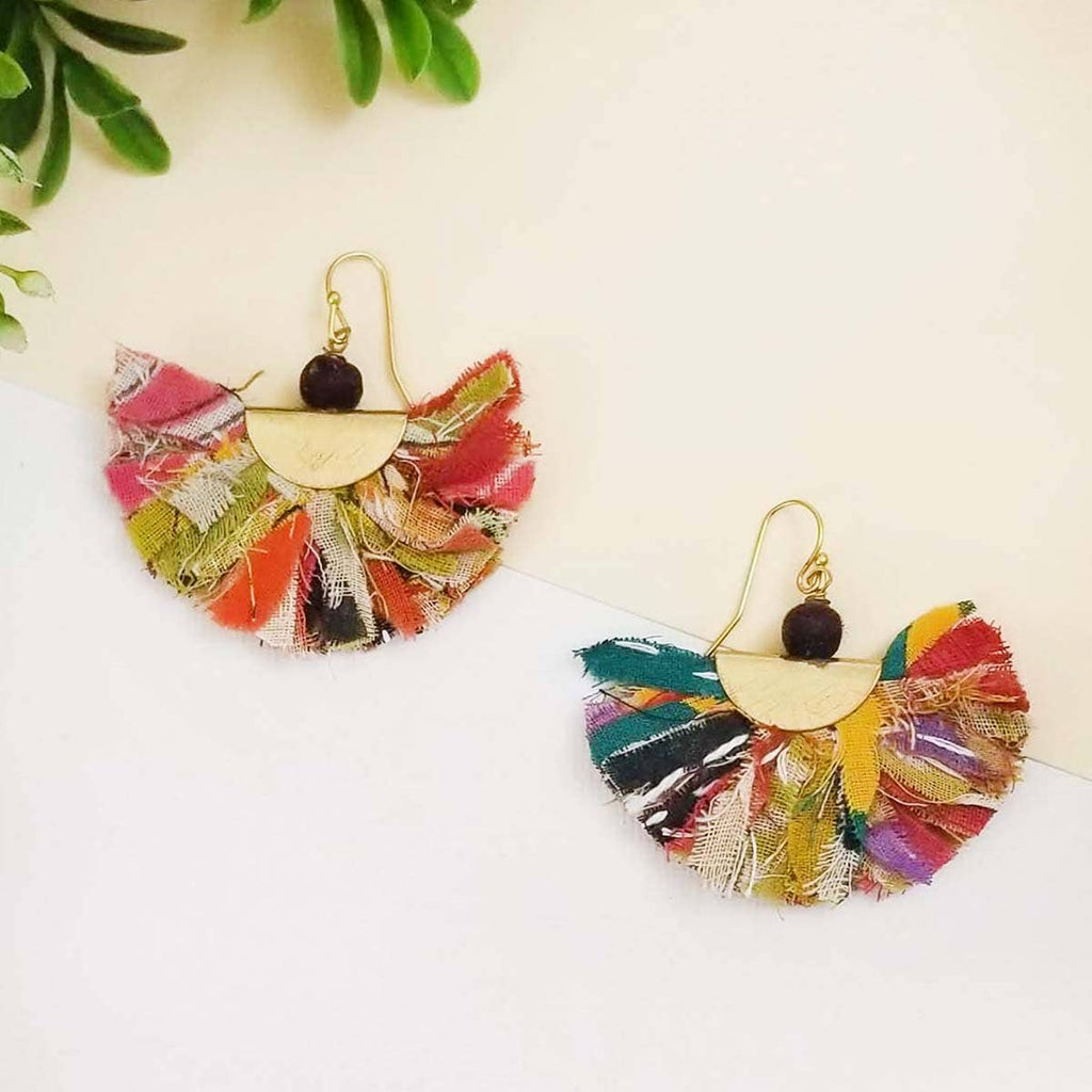 Colorful Fringed Arc Earrings (Recycled Saris!)