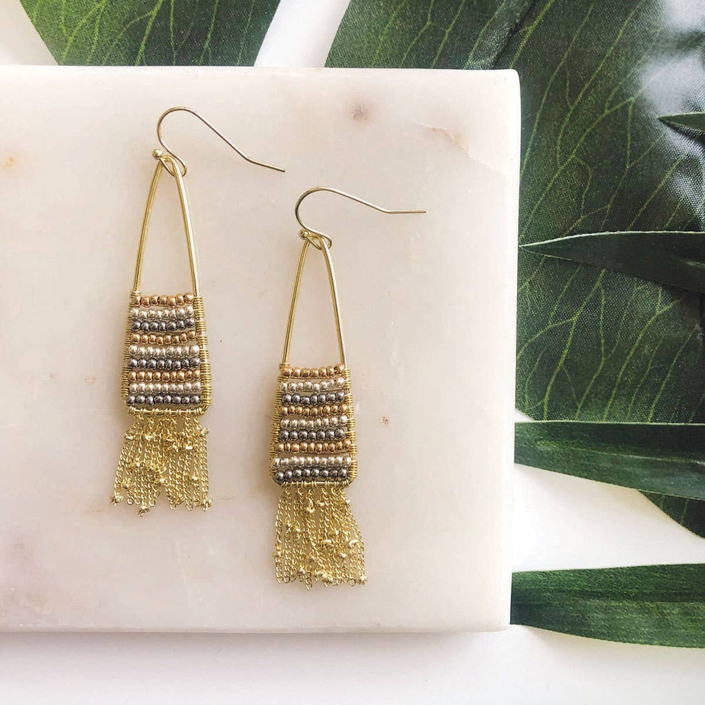 Fringed Metallic Gradient Earrings