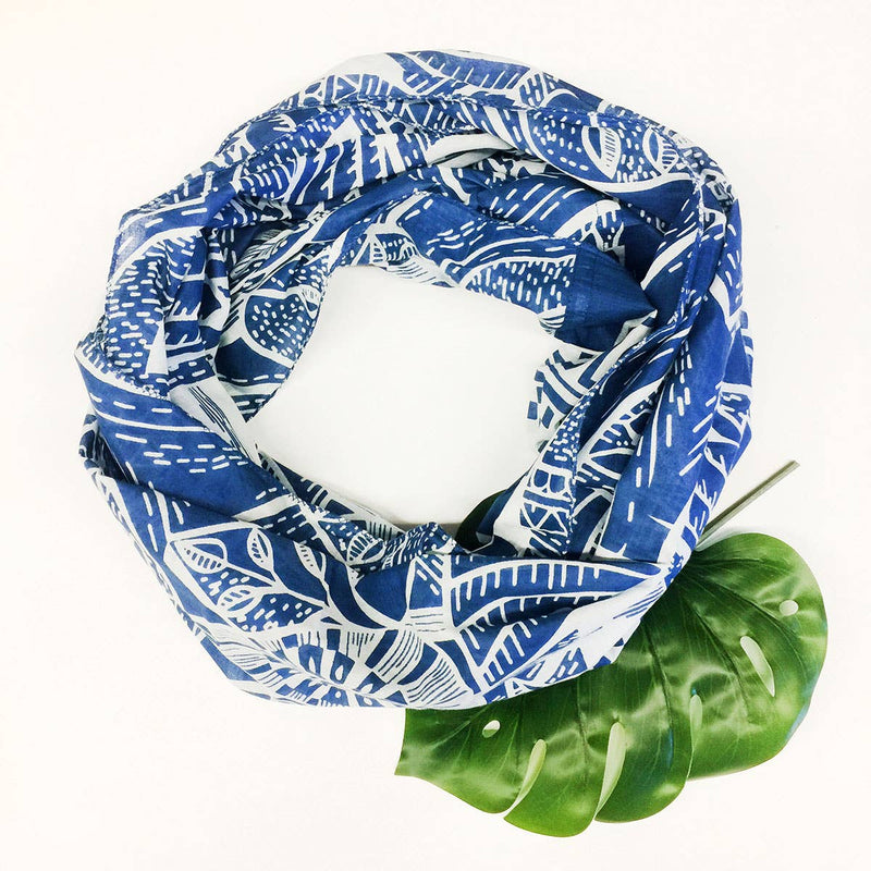 Printed French Blue Infinity Scarf