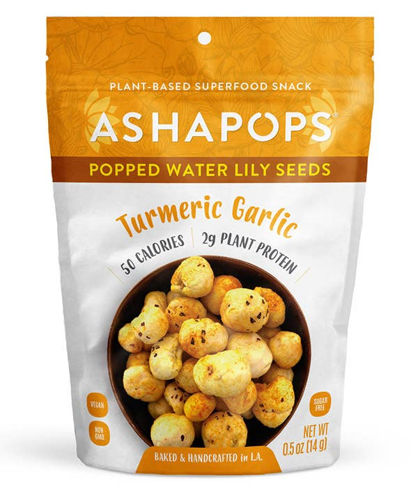 AshaPops Popped Water Lily Seeds Turmeric Garlic