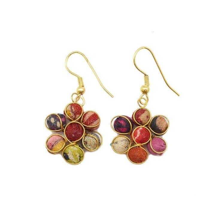 Beaded Flower Earrings (Recycled Saris!)
