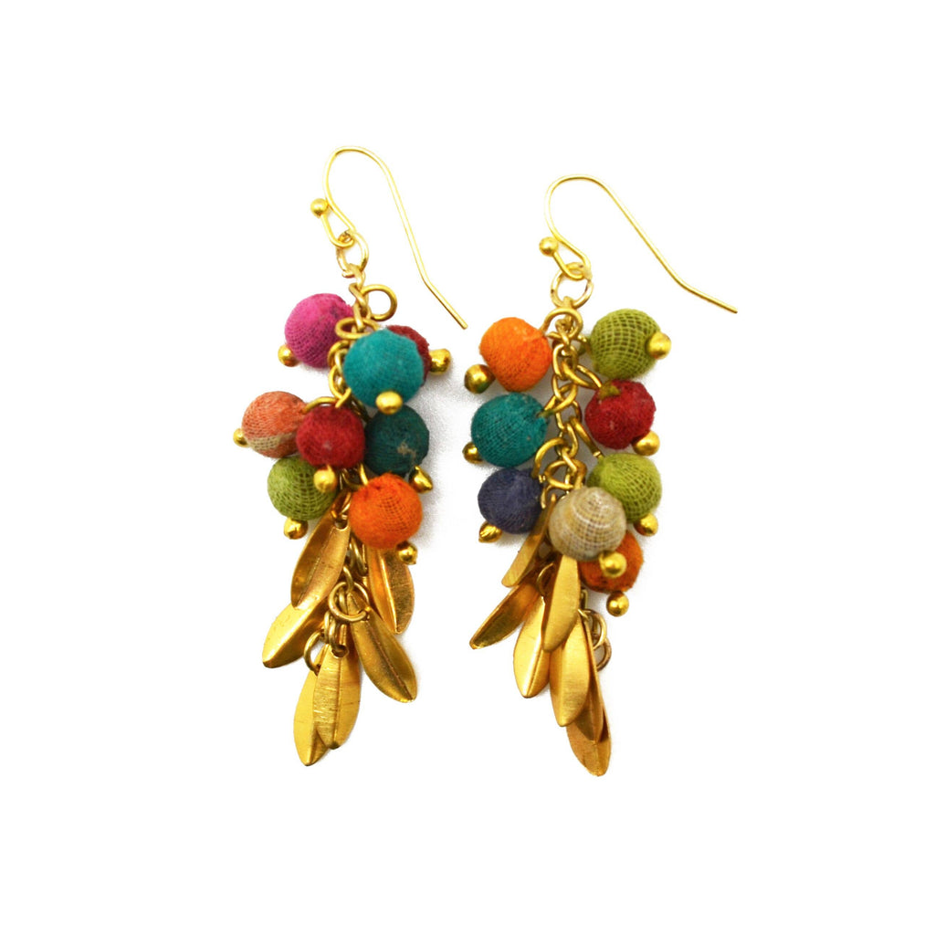 Beads & Gold Dangling Earrings