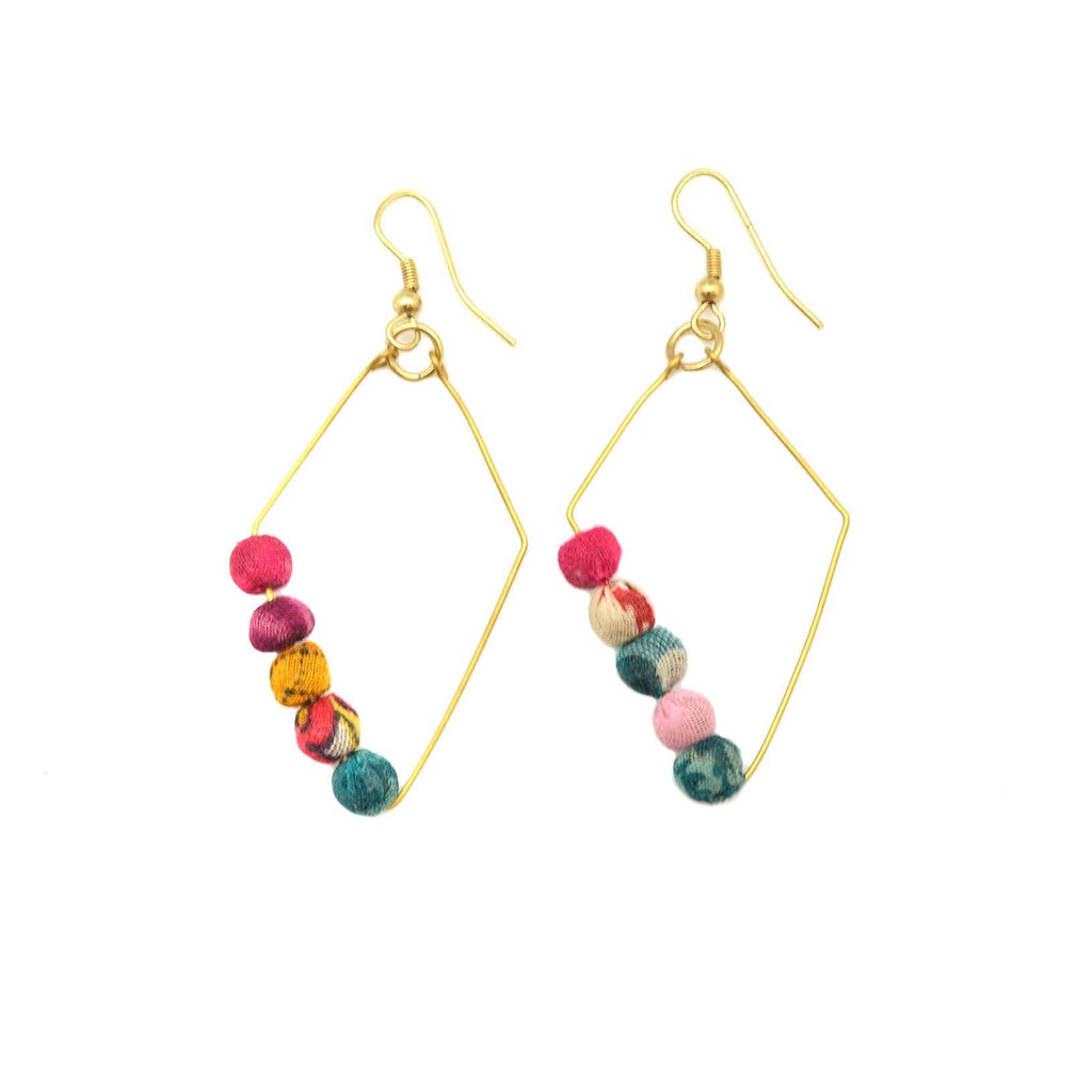 Asymmetrical Bead Earrings (Recycled Saris!)