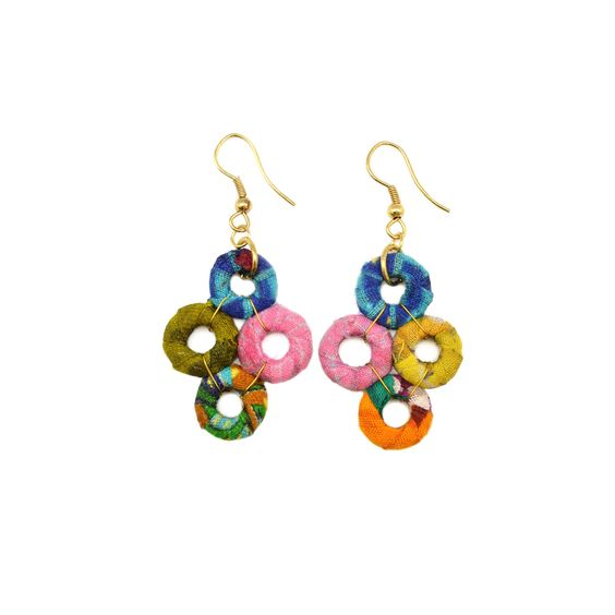 Dangling Circles Earrings (Recycled Saris!) - Masala My Life