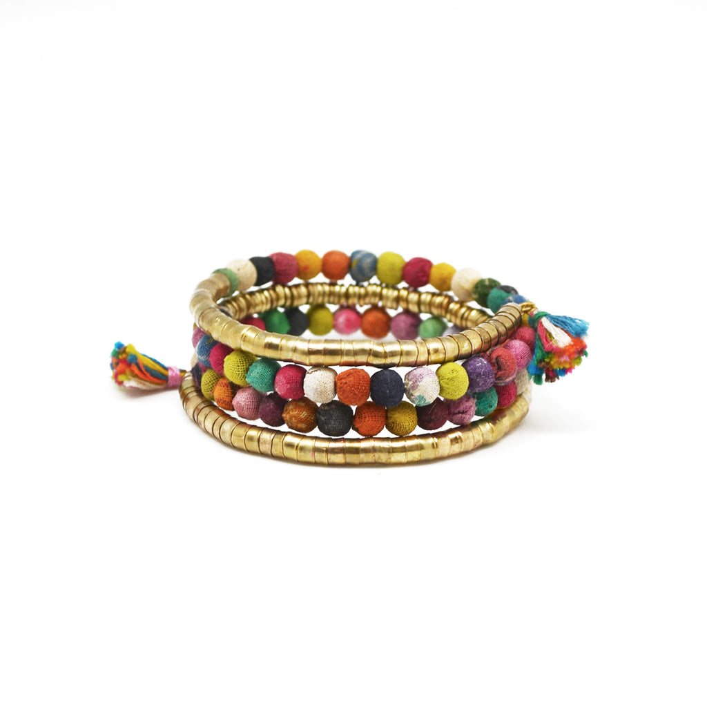 Beaded Wrap Bracelet with Tassels (Recycled Saris!)