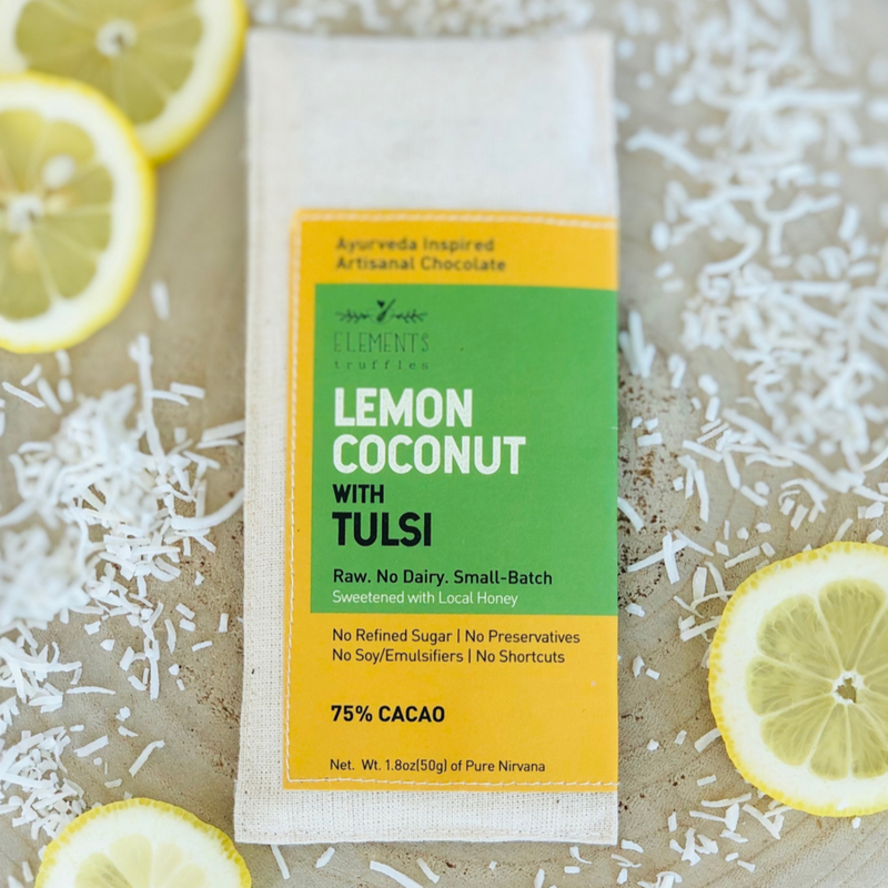 Lemon Coconut with Tulsi Chocolate Bar - Masala My Life