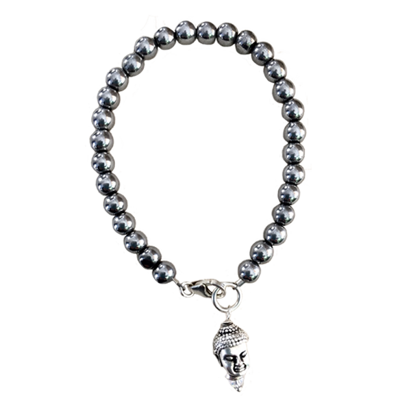 Beaded Bracelet with Silver Buddha Charm - Masala My Life