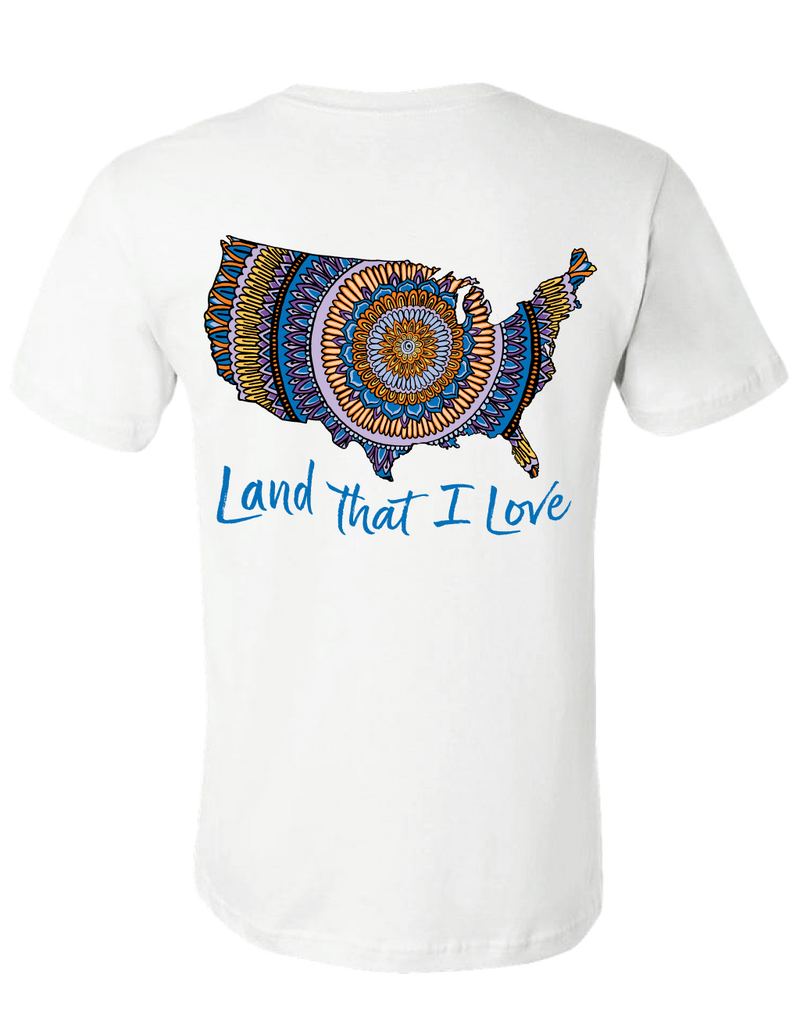 Land That I Love Mandala Map Tee (White) - Masala My Life