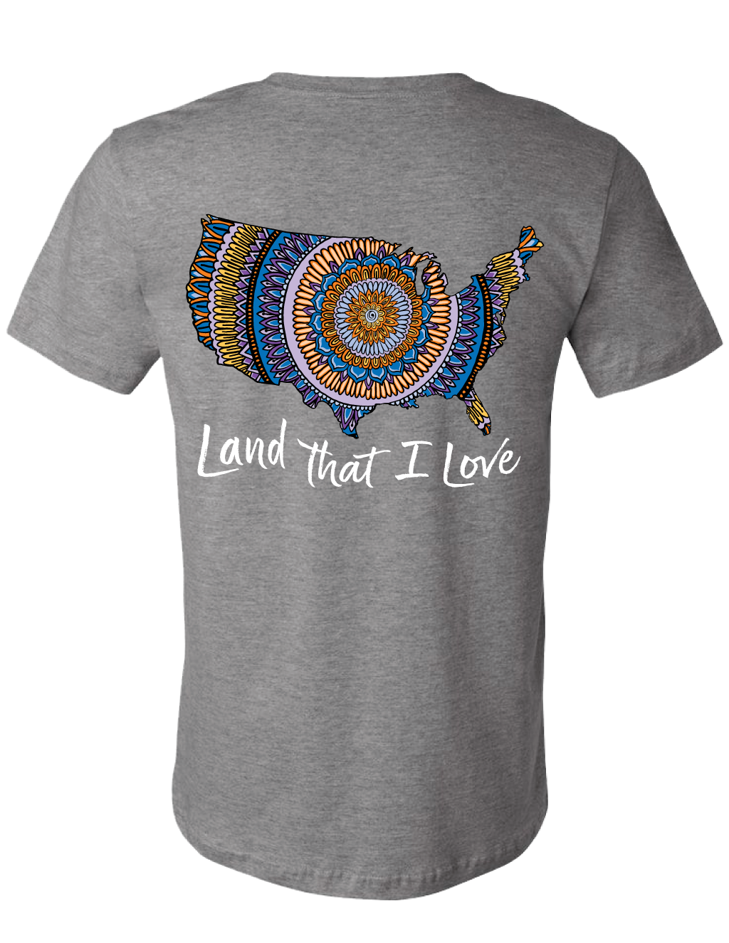 Land That I Love Mandala Map Tee (Gray Heather) - Masala My Life