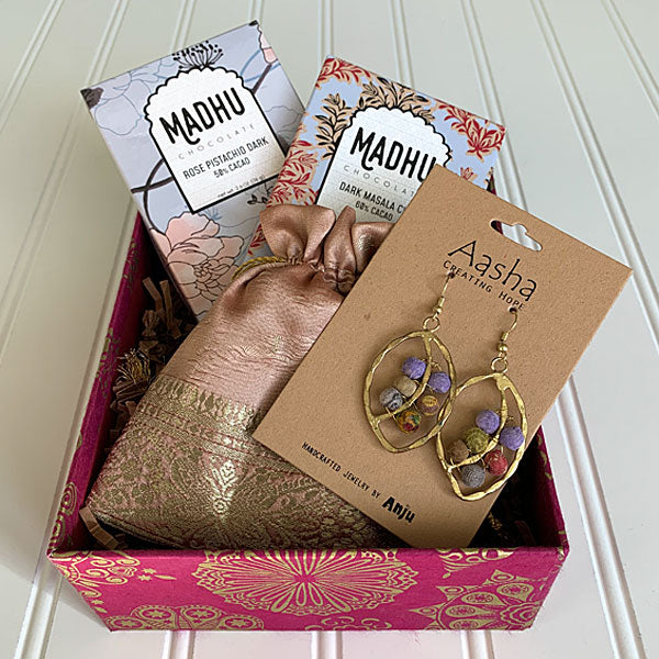 Chocolate and Jewelry Pink Floral Gift Box - Masala My Life