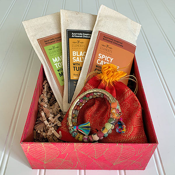 Chocolate and Jewelry Red Leaf Gift Box - Masala My Life