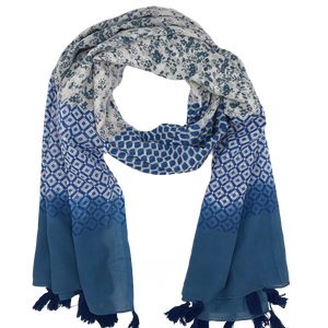 Blue Floral and Geometric Scarf - Masala My Life
