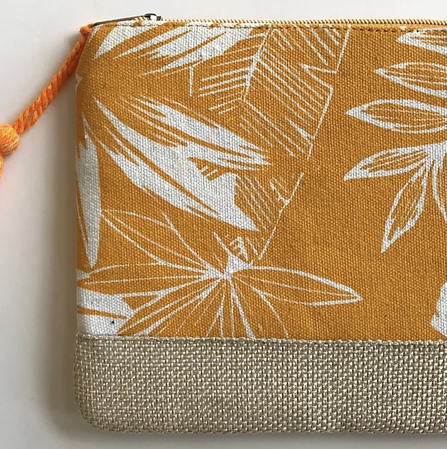 Tropical Leaf Pouch in Orange