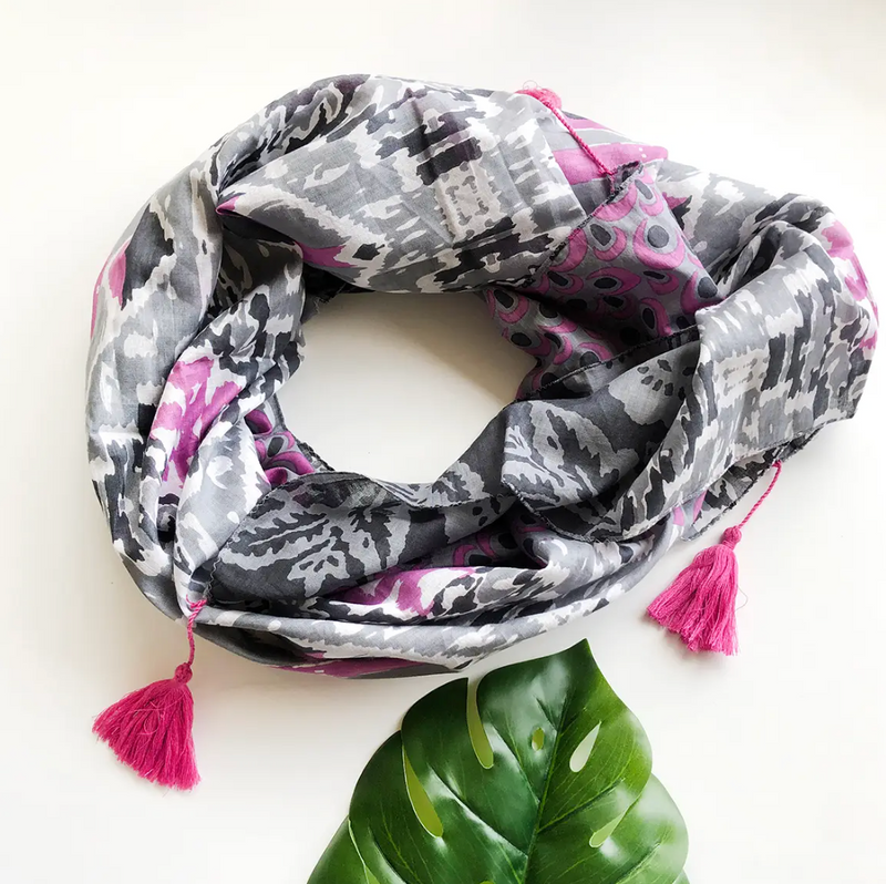 Pink and Gray Ikat Patchwork Scarf