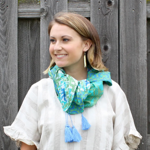 Blue and Green Ikat Patchwork Scarf