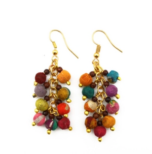 Bead Cluster Earrings (Recycled Saris!)