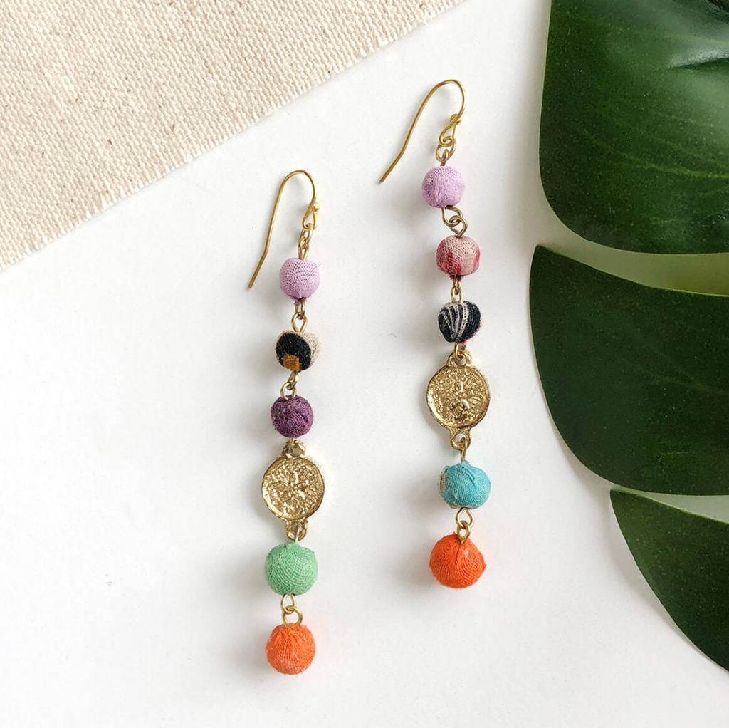 Dangling Beads & Coin Earrings