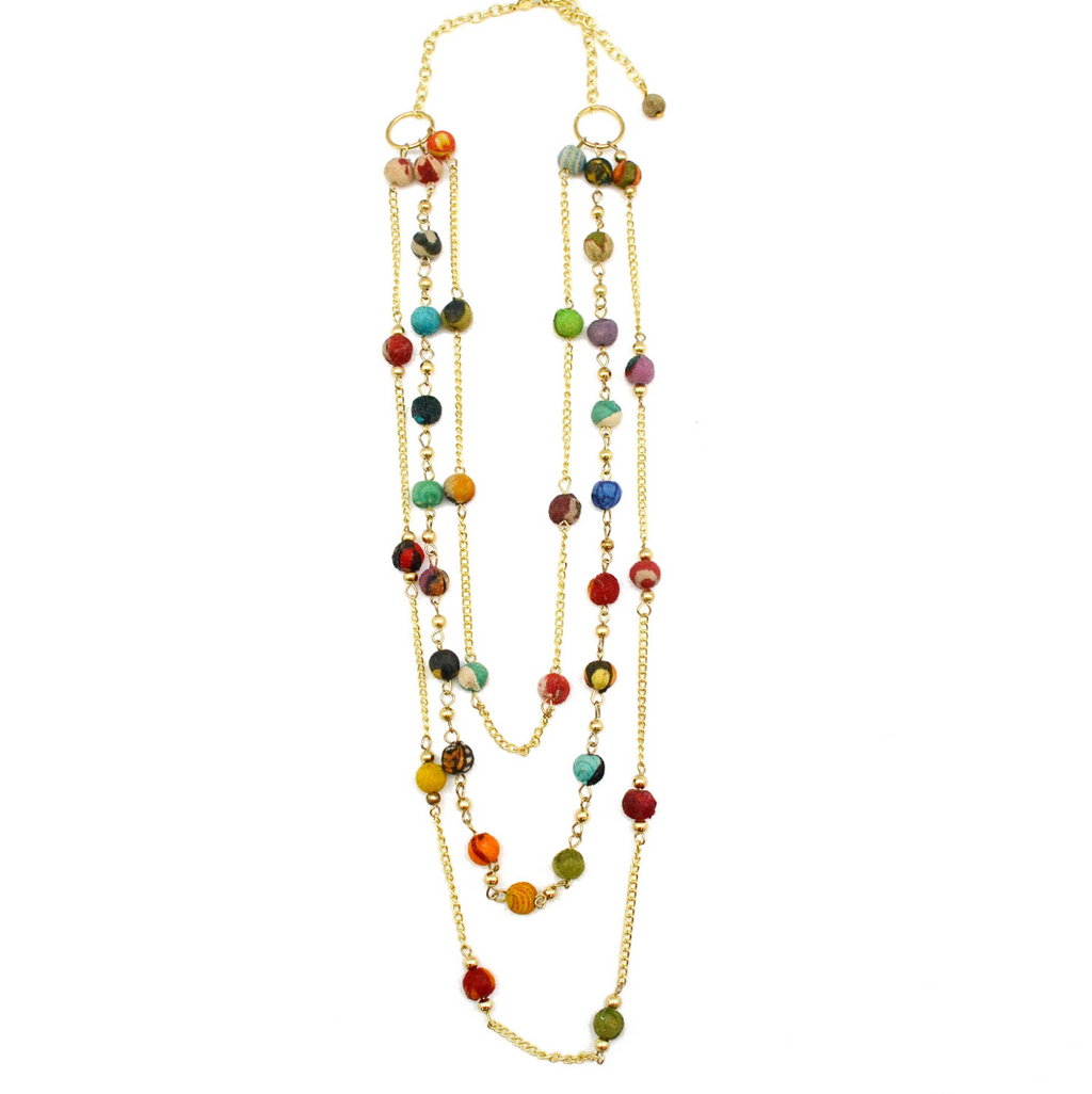 Multi-layered gold necklace with colorful beads (Recycled Saris!) - Masala My Life