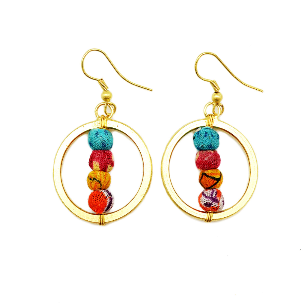 Circle Bead Earrings (Recycled Saris!) - Masala My Life
