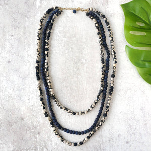 Layered Indigo Necklace (Recycled Saris!)