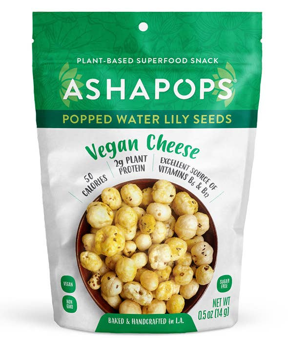 AshaPops Popped Water Lily Seeds Vegan Cheese