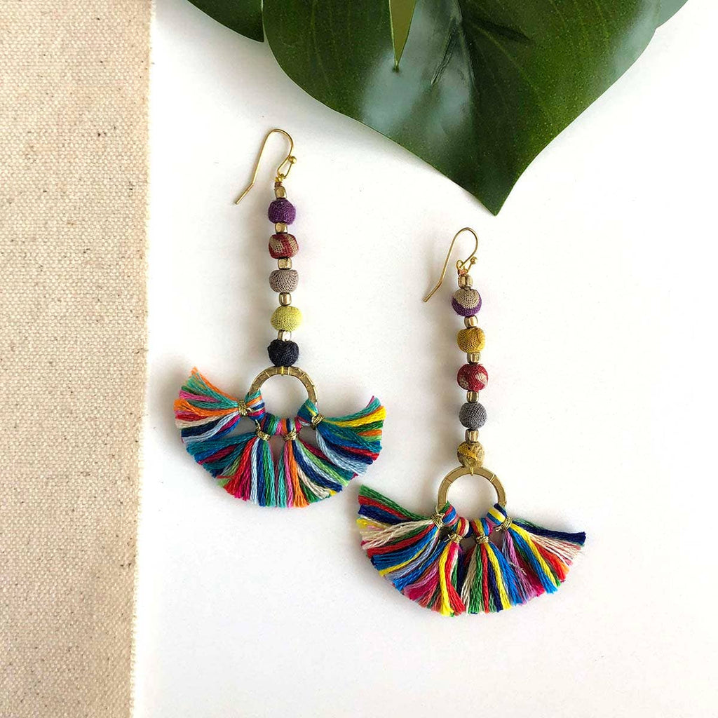 Looped Linear Fringe Earrings (Recycled Saris!)