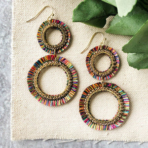Raja Rainbow Double Hoops