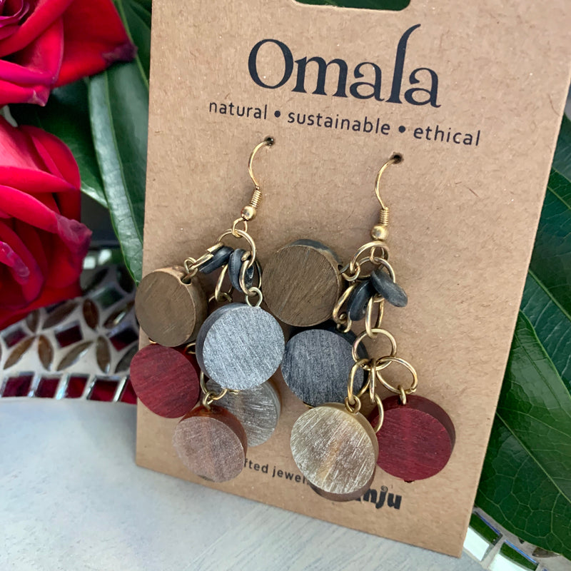 Omala Circle Bead Cluster Earrings (Sustainable)