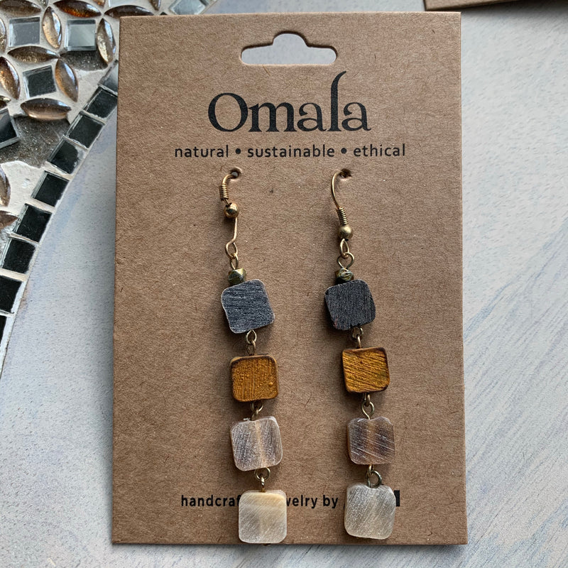 Omala Tiny Squares Dangling Earrings (Sustainable)