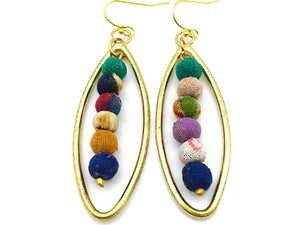 Gold and Bead Teardrop Earrings (Recycled Saris!) - Masala My Life