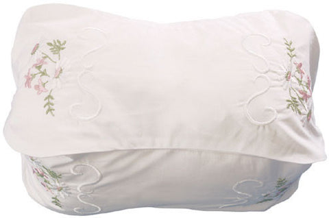 180 thread count 100% Egyptian Cotton embroidered 'Valencia' design Neck Bolster Case.