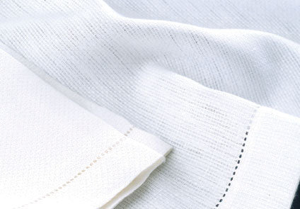 Pure Irish Linen Huckback Towels with Hemstitched Borders.