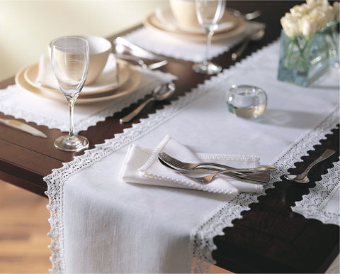 Classic 100% Linen Placemats with Lace Border