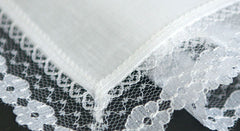 Fine Pure Irish Linen Ladies Handkerchief with Lace Border