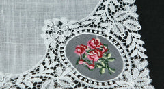Swiss Linen Embroidery and Lace Ladies Handkerchief.