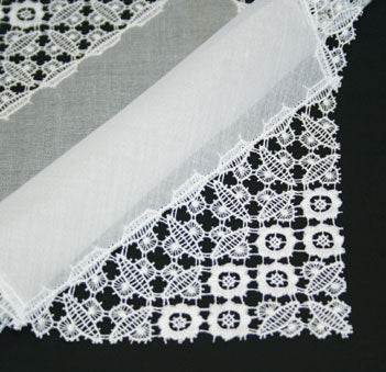 Swiss Cotton and Lace Ladies Handkerchief