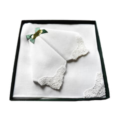 Linen and Lace Ladies Handkerchiefs - Box of 3