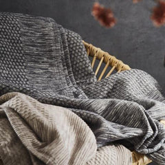 Organic Cotton Mix Reversible Strasburg Throw - Grey and Burgundy