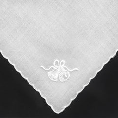 Cotton Ladies Handkerchiefs with Wedding Bells Embroidery