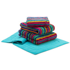 Blue Stripe Multicolour Combed Cotton Towels