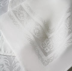 Irish Linen Double Damask Napkin with Fine Scroll
