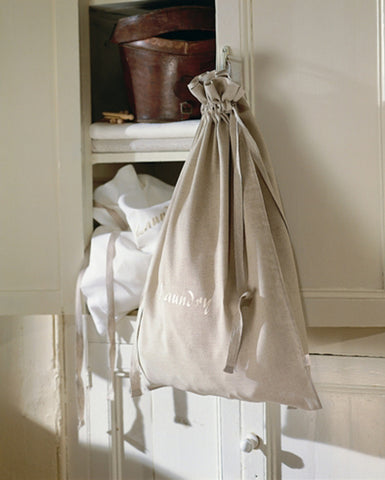 100% Natural Irish Linen Embroidered Laundry Bag
