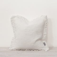 White Feather Filled Ruffled Linen Throw Cushion