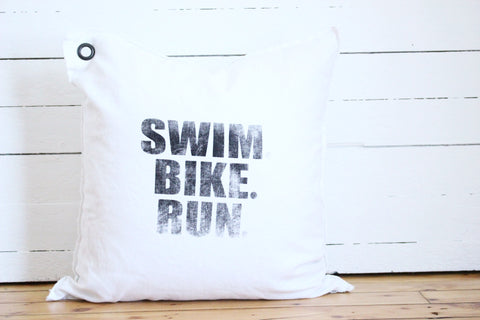 swim.bike.run. pillow