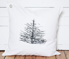 branchy pine tree. pillow