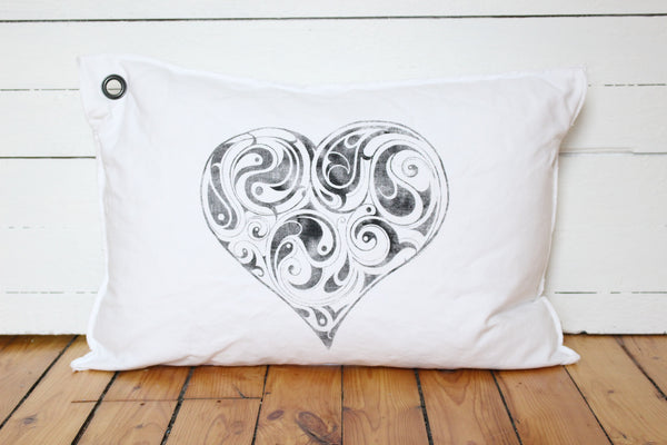 yin/yang heart pillow