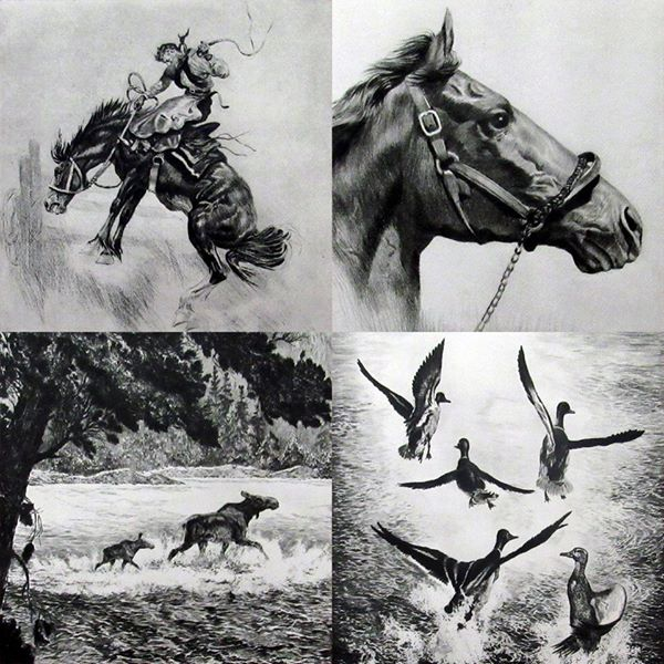"1940's R.H. Palenske ""The Sporting Trail"" Collection of Drypoint Etchings Set of 4 - DJR Authentication"