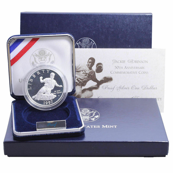 1997 Jackie Robinson US Mint Commemorative 90% Silver Proof Dollar Coin - DJR Exchange
