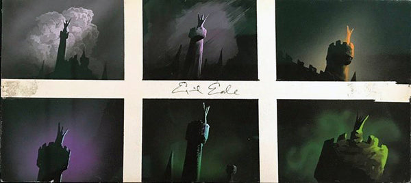Eyvind Earle 1959 Walt Disney Sleeping Beauty Maleficent Movie Concept Art Painting - DJR Authentication