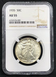 1935 50C Walking Liberty Silver Coin NGC AU 55 - DJR Authentication An Appraisal & Authentication Co.